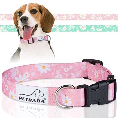 PETBABA Daisy Dog Collar, Floral Pattern Flower Print Adjustable Soft Collar for Pet - M in Pink