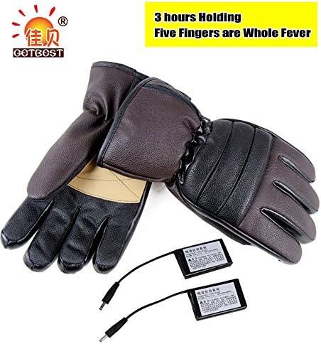 リチウムバッテリーPowe赤手袋Heated Gloves Hand Warmer手袋3時間Holding (ブラウン)