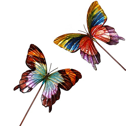 Butterfly Decorative Garden Stakes - Hand-Painted Metal
