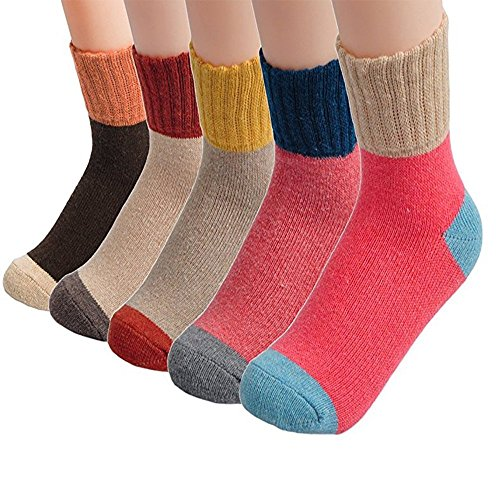 Winter Wool Socks (Pack of 5), Vintage Style Crew Socks for Women Contrast Color