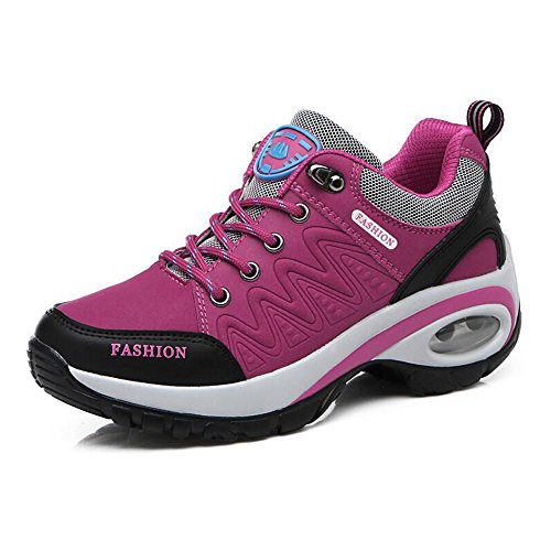 Eastlion Women Winter Climbing Sports Shoes Outdoor Non-slip Wear-resistant Travel Hiking Shoes Rose Red