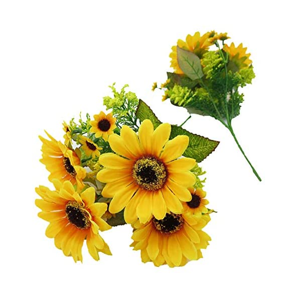 Gumolutin 2 Packs of 7 Branches Artificial Sunflower Bouquet for Home Office Outdoor Decoration