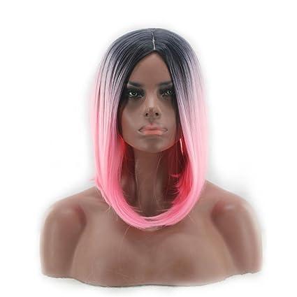happymoodlong rizado ondulado wigs- Multicolor Natural Pelucas De Cosplay Disfraz de Halloween uno pcs con