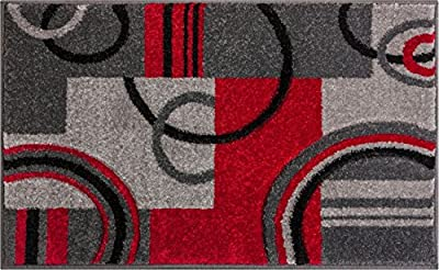 Echo Shapes & Circles Red / Grey Modern Geometric Comfy Casual Hand Carved Runner Rug Easy to Clean Stain Fade Resistant Shed Free Abstract Contemporary Thick Soft Plush Living Room