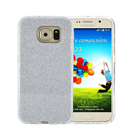 Pretty Samsung Galaxy S7 Edge Case, FACEVER Crystal Bling Glitter 3 in 1 Sparkle Rhinestone Protective Case For Samsung S7 Edge (Silver)
