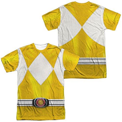 White Ranger Costume T-shirt (Trevco Unisex-Adults Power Yellow Ranger Double Sided T-Shirt, White, Large)