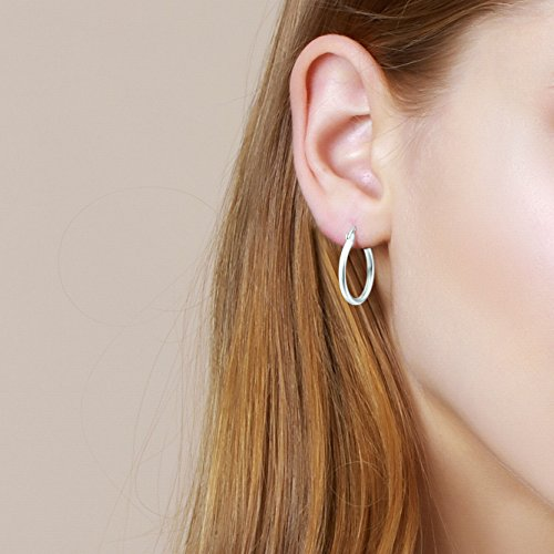 Carleen 14K White Gold Plated 925 Sterling Silver Dainty Round-Tube Click-Top Hoop Earrings for Women Girls (Diameter 20mm) by Carleen (Image #1)