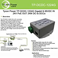 Tycon (TP-DCDC-1224G) 9-36VDC In, 24VDC Out 19W Gigabit DC to DC Conv / POE Ins