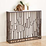 Layered Bronze Metal Open Geometric Console Table White Marble Slim Thin Narrow