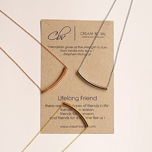 Lifelong Friend SILVER Curve Tube Necklace - 17'' Length