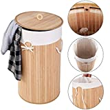 Round Bamboo Hamper Laundry Basket Washing Cloth Organizer Storage Bag Lid/ Natural
