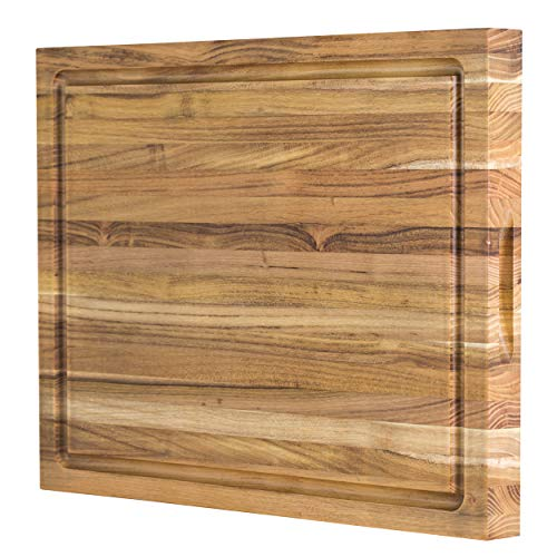 (Large Reversible Teak Wood Cutting Board: 18x14x1.25 with Juice Groove (Gift Box Included) by Sonder Los Angeles)