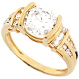 14k Real Solid Yellow Gold 7.5mm Round CZ with Channel Set Accent Ring