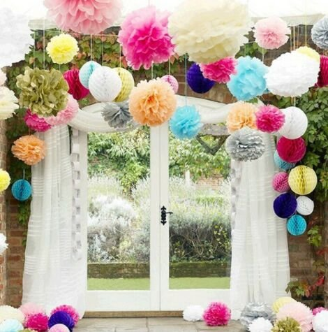 5Pcs 4 6 8 10 12 Inch Tissue Paper Pom Poms Wedding Party Paper Pompom Flower for Wedding Decoration Pompoms Pom Pom