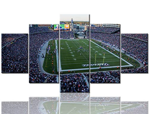 Sports Wall Decor Gillette Stadium Pictures for Living Room Super Bowl Champs Paintings NFL Wall Art 5 Panel Canvas Modern Artwork Home Decorations Framed Gallery-wrapped Ready to Hang (60