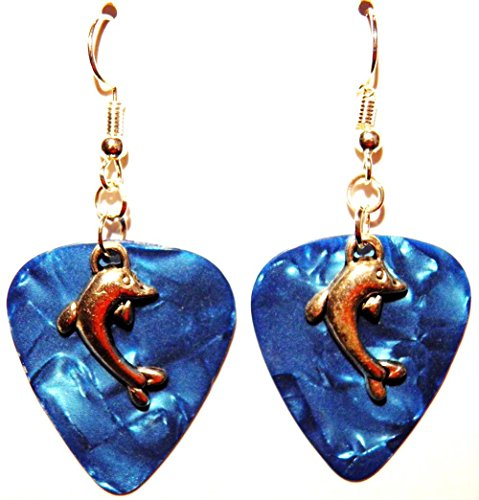 Single Dolphin Charm on Guitar Pick Earrings (Teal Blue Guitar pick)