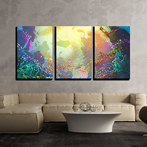 "Wall26 - 3 Piece Canvas Wall Art - Illustration - Underwater with Coral Reef and Colorful Fish,Illustration Painting - Modern Home Decor Stretched and Framed Ready to Hang - 16""x24\""x3 Panels"