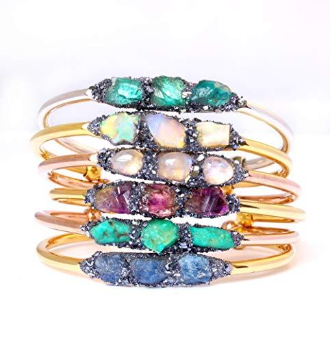 Custom Boho Raw Birthstone Cuff Bracelet Jewelry