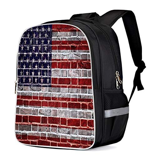 Picasso Brick - T&H Home Travel Backpack Durable Student Bookbag American Flag Creative Printing Bags, Patriotic Red White and Blue Brick Design Classic Rucksack Picasso Redirect Bag
