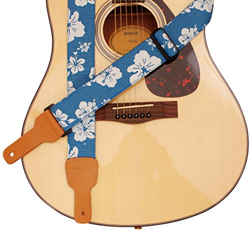 "MUSIC FIRST Original Design, 2 inch width (5cm), Hawaii Style ""Blue and White Plumeria"" Soft Cotton & Genuine Leather Delux Guitar Strap, Ukulele Strap, Mandolin Strap, Salute ELVIS"