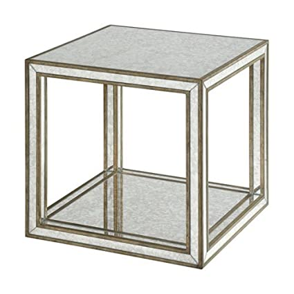 Uttermost 24789 Julie Contemporary Antique Mirrored Open Cube Accent Table