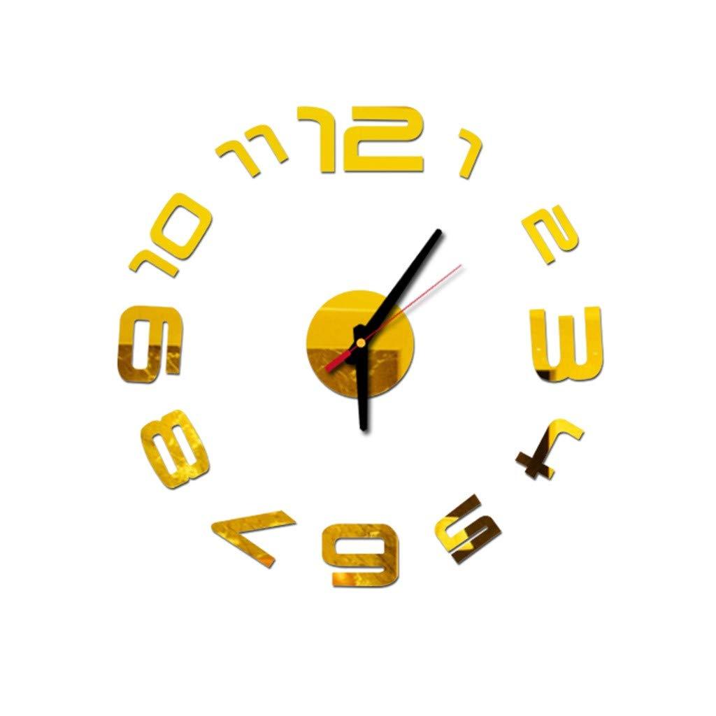 DIY 3D Mirror Wall Clock Stickers Modern Wall Art Clock Design,Decorative for Home Decor, Kitchen, Living Room,Bathroom, Bedroom, Office