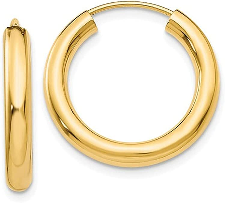 14kt Yellow Gold Lady/'s Custom-Made Tubular RopePlain Finish Hoop Earrings at a Fantastic Price.