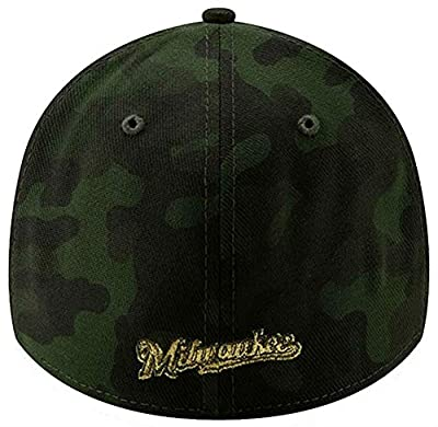 New Era 2019 MLB Milwaukee Brewers Hat Cap Armed Forces Day 39Thirty 3930 Green/Gold