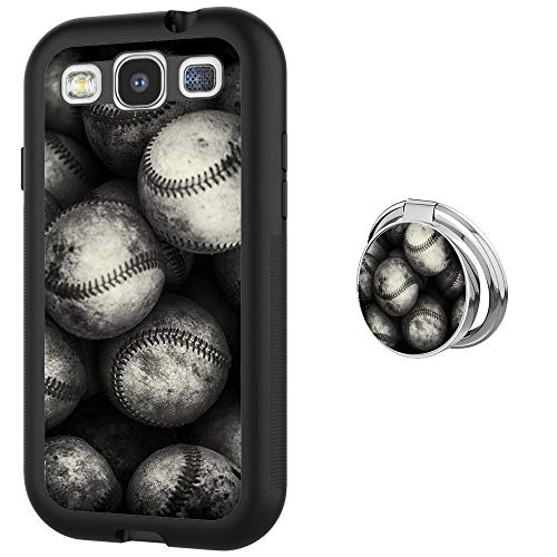 Case for Samsung Galaxy S3 case Baseball With Ring Holder Slim Soft and Hard Tire Shockproof Protective Phone Cover Case Slim Hybrid Shockproof Protective Case Anti-Scratch Cushion Bumper with Reinfor (Baseball Samsung Galaxy S3 Case)