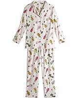 Women's Ivory Cat Flannel Pajama Set