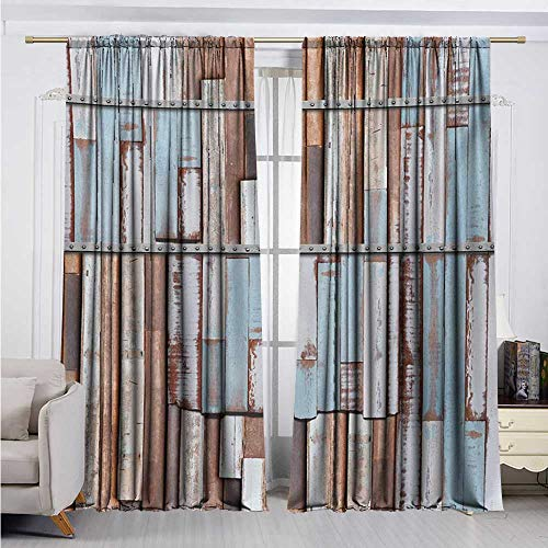- DESPKON-HOME Window Darkening Curtains,Rustic Nautical Long Wooden Planks Tree Designs on with Rusty Screws Art Print Nsulated Darkening Curtains (96W x 72L inch,Brown White and Blue)