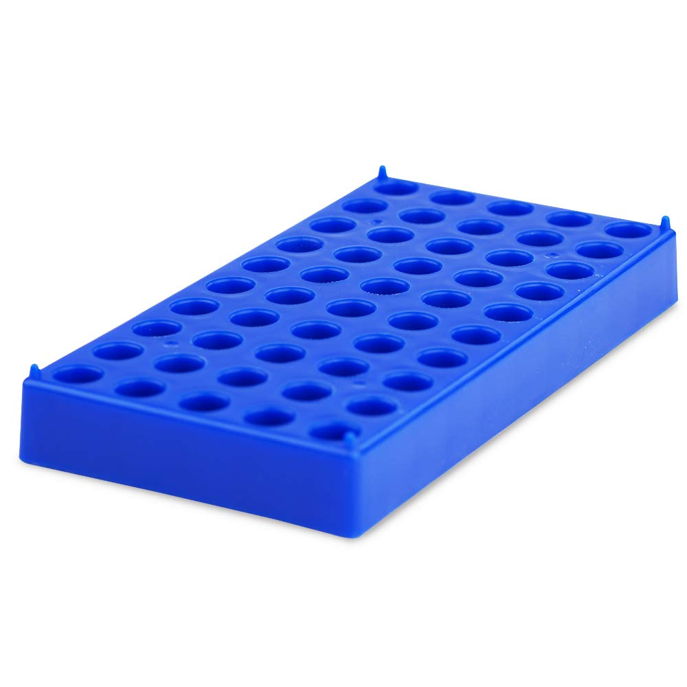 Vial Rack, Membrane Solutions Blue Vial Holds 50 Standard 12mm 2mL vials, Stackable Tube Rack Centrifuge Tubes Rack, 1 Pack