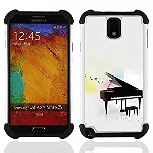 GIFT CHOICE / Defensor Cubierta de protección completa Flexible TPU Silicona + Duro PC Estuche protector Cáscara Funda Caso / Combo Case for Samsung Galaxy Note 3 III N9000 N9002 N9005 // Music Play Instrument Notes White //