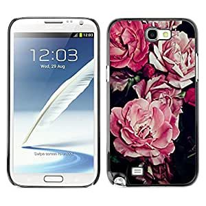 Planetar® ( Begonia Pink Flower Floral Pattern Black ) SAMSUNG Galaxy Note 2 II / N7100 Fundas Cover Cubre Hard Case Cover