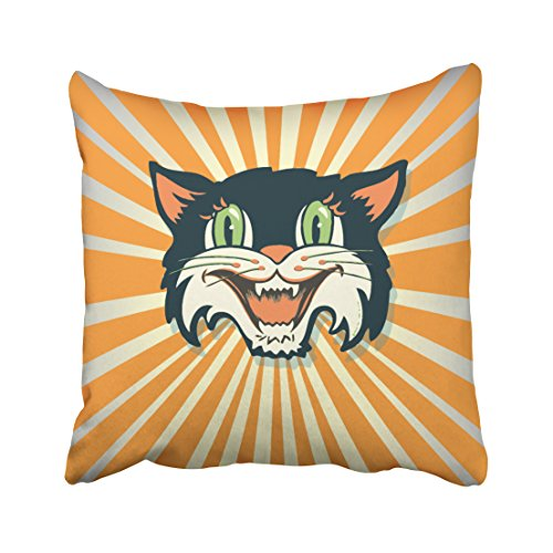 Accrocn Cool Retro Vintage Halloween Cat Pillow Covers Cushion Cover Case 18x18 Inches Pillowcases One (Tiger Butterfly Tattoo)