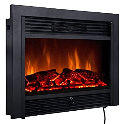 """Quality 29"""" Black Electric Embedded Insert Fireplace Heater With Remote Control."""