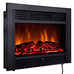 Quality 29 Black Electric Embedded Insert Fireplace Heater With Remote Control.