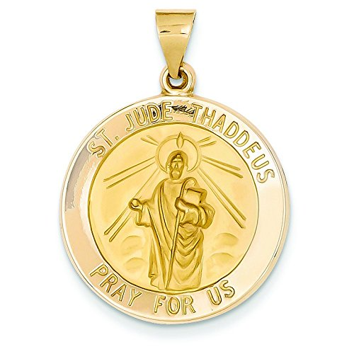 YG 14 Carats Pendentif Médaille Saint Jude-Dimensions :  22,4 x 30,8-JewelryWeb mm