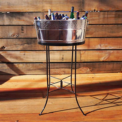 BREKX Aspen Hammered Stainless Steel Beverage Tub with Metal Stand 25 Quarts