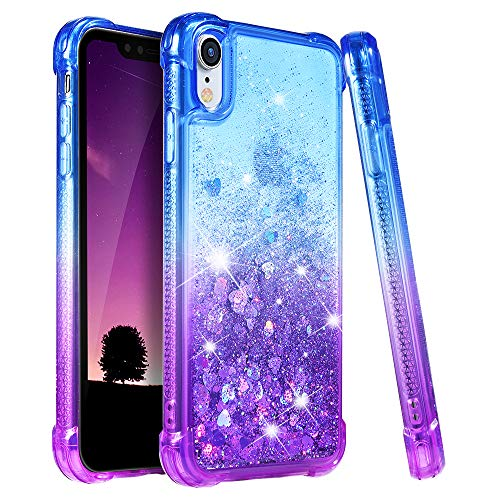 Ruky Case for iPhone XR Glitter Case, Gradient Quicksand Series TPU Bumper Cushion Reinforced Corners Protective Bling Liquid Girls Women Case iPhone XR 6.1 Inch - Blue&Purple
