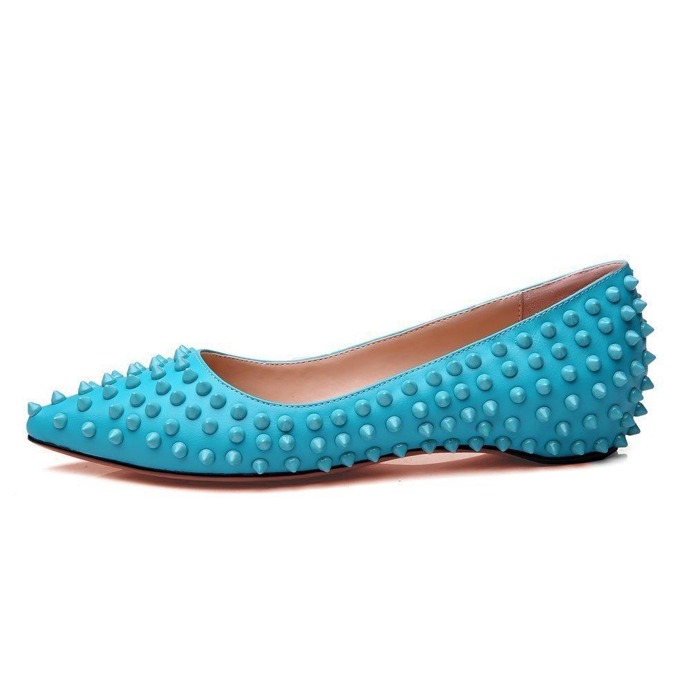 Mermaid Women's Shoes Pointed Toe Spiked Rivets Comfortable Flats B071R7VB37 US 9 Feet length 10.04