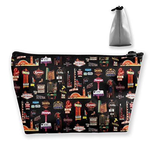 NOWDIDA Makeup Bag - Cosmetic Lipstick Cute Pouch Toiletry Travel Bag and Brush Organizer Purse Handbag for Women - Las Vegas Skyline