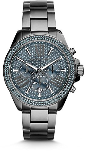 Michael Kors Wren Chronograph Blue Crystal Pave Dial Gunmetal Ion-plated WOMENS Watch MK6097