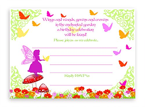 Garden Party Invitation - Garden Fairy LARGE Invitations - 10 Invitations 10 Envelopes