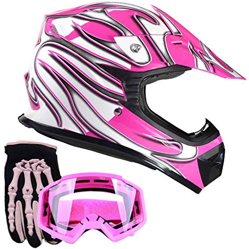 Youth Kids Offroad Gear Combo Helmet Gloves Goggles DOT Motocross ATV Dirt Bike MX Motorcycle Pink - XL (Atv Off Road Helmet)
