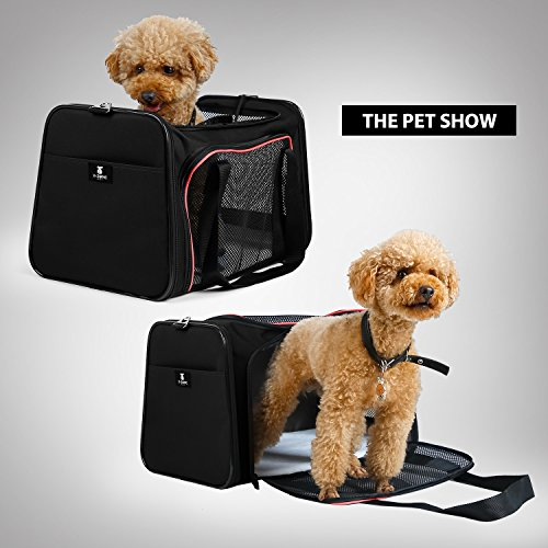 X-ZONE PET Airline Approved Pet Carriers,Soft Sided collapsible Pet travel Carrier for medium puppy and cats (Large, Black&red) by X-ZONE PET (Image #2)