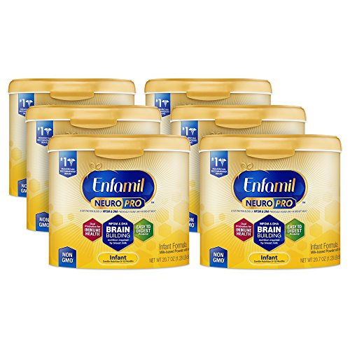 Enfamil NeuroPro Infant Formula -Brain Building Nutrition Inspired by Breast Milk - Reusable Powder Tub, 20.7 oz (6 count)