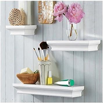 LightStan Contemporary Floating Wall Shelves White Finish Decorative Wood  Ledge Set of 3 pcs