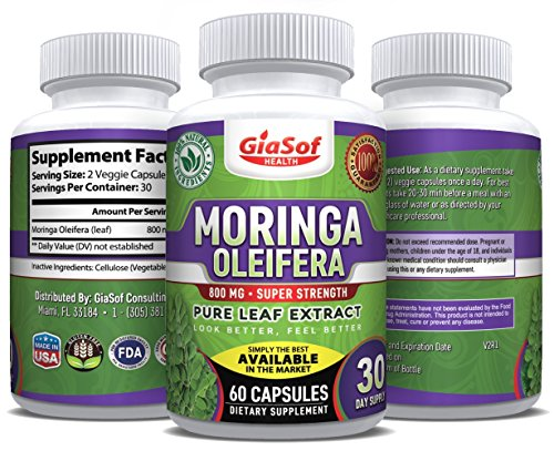GiaSof Health Moringa Oleifera 800 Mg Pure Leaf Extract Capsules | Aids in Weight Loss | Energy Booster | Boost Immune System | Natural Sleep Aid | Pure Energy | Mood Enhancer | Anti Aging-Best Value!