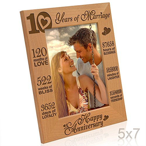 Kate Posh - Our 10th Wedding Anniversary Picture Frame, 10th Anniversary Gifts, 10 Years Anniversary, 10 Years of Marriage, 120 Months of Love - Engraved Natural Wood Picture Frame (5x7-Vertical)